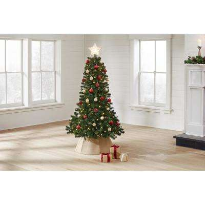 7 ft Wesley Long Needle Pine Slim LED Pre-Lit Artificial Christmas Tree with 350 Color Changing Lights