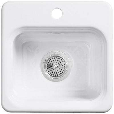 Northland Drop-In Cast-Iron 15 in. 1-Hole Single Bowl Entertainment Sink in White