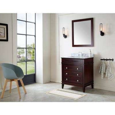 Wineck 30 in. W x 35 in. H Bath Vanity in Chocolate with Marble Vanity Top in Carrara White with White Basin and Mirror