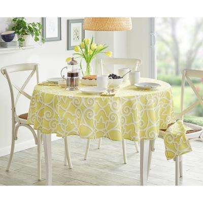 70 in. Round Chase Geometric Stain Resistant Indoor Outdoor Tablecloth