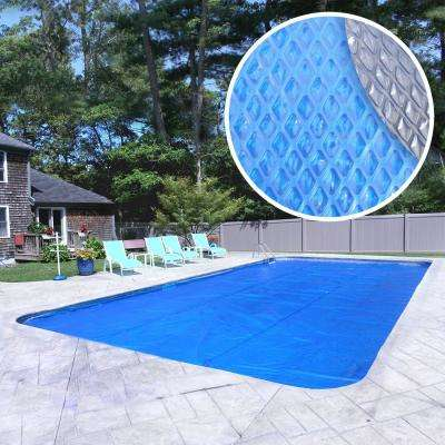 Extra Heavy-Duty Space Age Diamond 10-Year Rectangle Blue Solar Cover Pool Blanket
