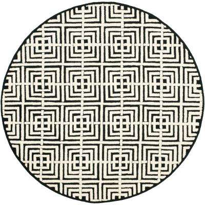 Newport Black/White 6 ft. x 6 ft. Round Area Rug