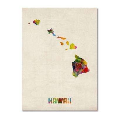32 in. x 24 in. Hawaii Map Canvas Art