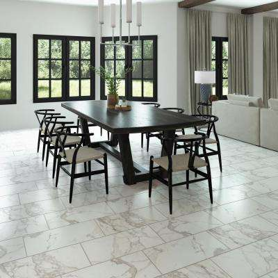 QuicTile 12 in. x 24 in. Calacatta Marvel Matte Porcelain Locking Floor Tile (9.6 sq. ft. / case)