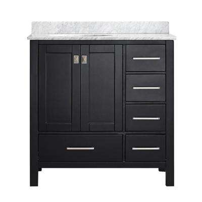 Gela 36 in. W x 22 in. D x 35 in. H Vanity in Espresso with Marble Vanity Top in White with Basin