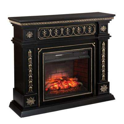 Lockport 47 in. W Infrared Electric Fireplace in Black