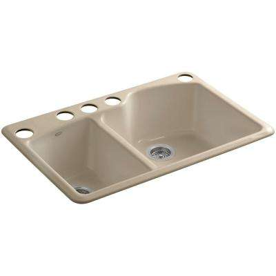 Wheatland Undermount Cast-Iron 33 in. 5-Hole Double Bowl Kitchen Sink in Mexican Sand