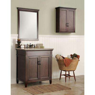 Ashburn 31 in. W x 22 in. D Bath Vanity in Mahogany with Granite Vanity Top in Beige