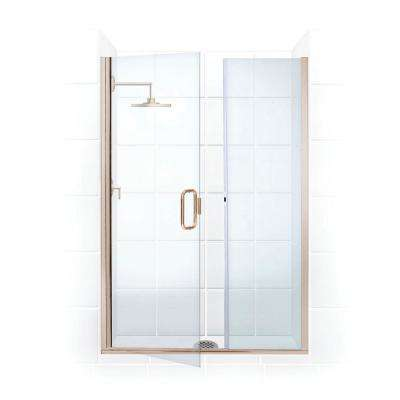 Illusion 38 in. to 39.25 in. x 75 in. Semi-Frameless Shower Door with Inline Panel in Brushed Nickel and Clear Glass