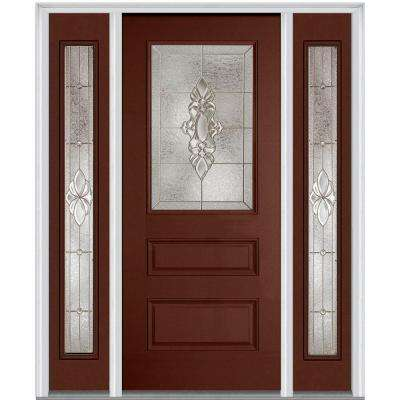 64 in. x 80 in. Heirloom Master Right-Hand 1/2 Lite Classic Painted Fiberglass Smooth Prehung Front Door w/ Sidelites