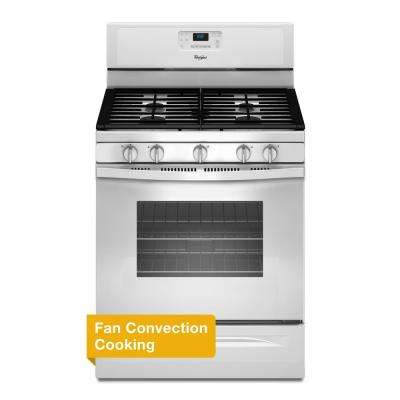 30 in. 5.0 cu. ft. Gas Range with Self-Cleaning Convection Oven in White