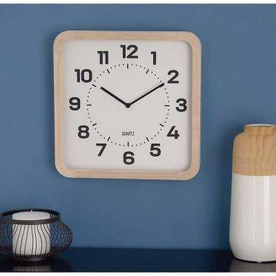 15 in. x 15 in. Classic Brown and White Square Table Clock