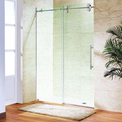 Elan 72 in. x 74 in. Frameless Bypass Shower Door in Stainless Steel with Clear Glass