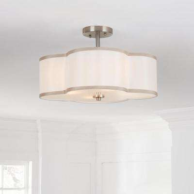 4-Light Brushed Nickel Semi-Flush Mount Light with Off-White Fabric Clover Shade