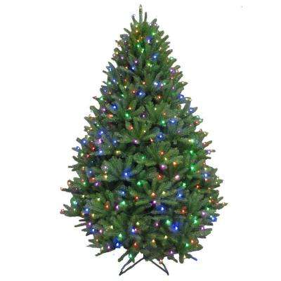 7.5 ft. Pre-Lit LED California Cedar Artificial Christmas Tree with Color Changing RGB Lights