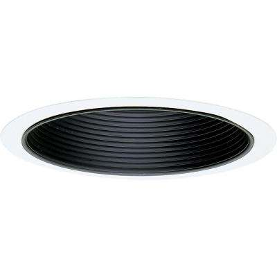 8 in. Pro-Optic Black with White Flange Recessed Baffle Trim