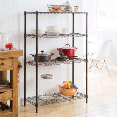 36 in. x 14 in. x 54 in. 4-Tier Indoor Wire Shelving Rack in Dark Bronze