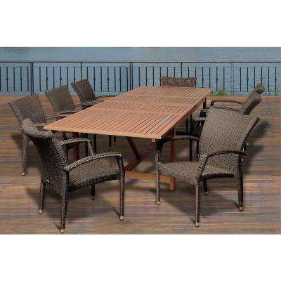 Perry 9-Piece Eucalyptus Extendable Rectangular Patio Dining Set