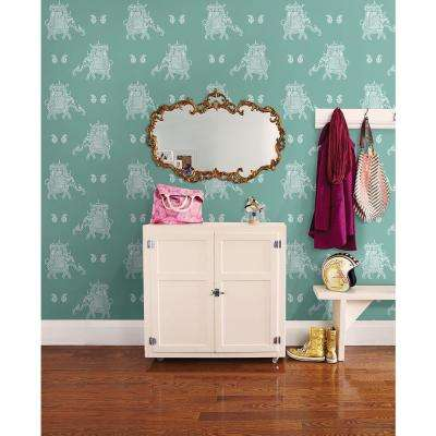 8 in. W x 10 in. H Ophelia Turquoise Elephant Wallpaper Sample