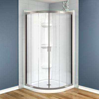 Intuition 40 in. x 40 in. x 73 in. Shower Stall in White