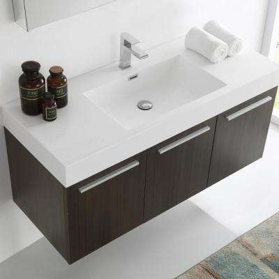 Vista 48 in. Vanity in Gray Oak with Acrylic Vanity Top in White with White Basin and Mirrored Medicine Cabinet