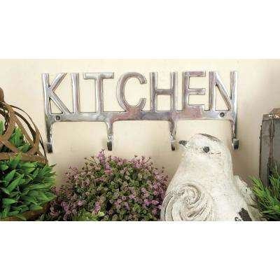 "7 in. x 16 in. Contemporary ""Kitchen"" Aluminum Metal Wall Hook"