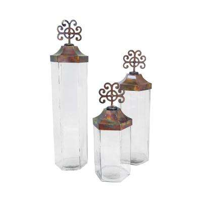 Tejas 30 in., 25 in. and 19 in. Burned Copper and Clear Glass Decorative Jars (Set Of 3)