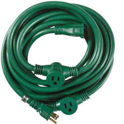 25 ft. 3-Outlet Garden Extension Cord with Evenly-Spaced Plugs, Green