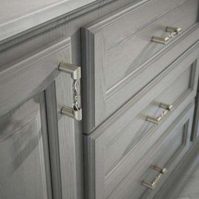Crystal Lace 3 in. (76mm) Center-to-Center Satin Nickel and Clear Glass Drawer Pull