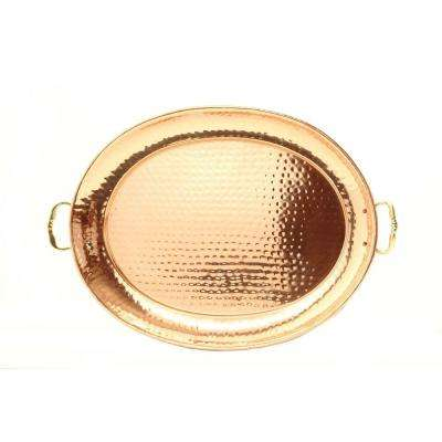 15 in. x 11 in. Oval Decor Copper Tray with Cast Brass Handles