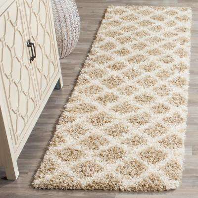 Dallas Shag Beige/Ivory 2 ft. 3 in. x 10 ft. Runner Rug