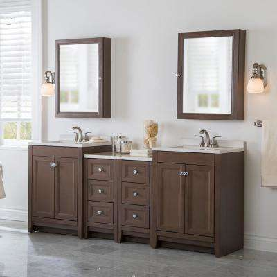 Delridge Bath Suite with 2 - 24 in. W Bath Vanities with Vanity tops, and 2 Linen Towers in Flagstone