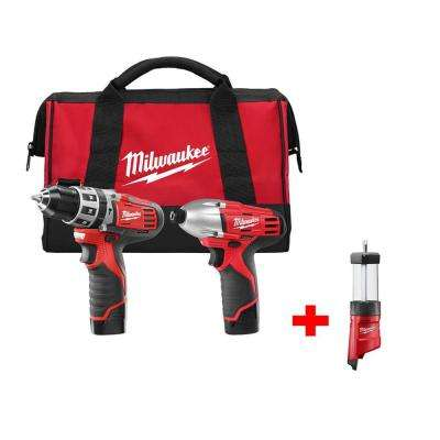M12 12-Volt Lithium-Ion Cordless Hammer Drill/Impact Driver Combo Kit with Free M12 LED Lantern