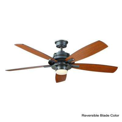 Montpelier 56 in. LED Indoor Natural Iron Ceiling Fan with Light Kit and Remote Control