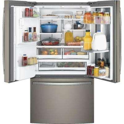36 in. W 27.8 cu. ft. French Door Refrigerator with Door-in-Door in Slate, Fingerprint Resistant