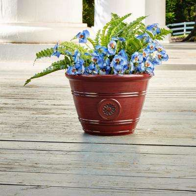 Modesto 15.25 in. Dia  Oxblood Resin Composite Planter