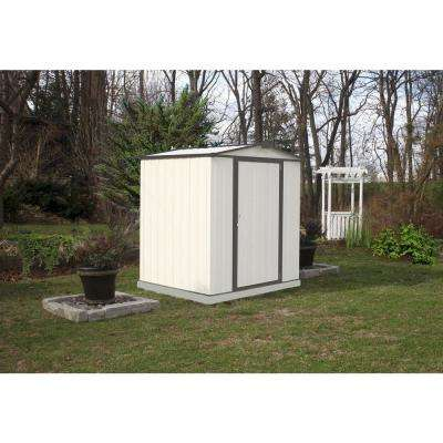 6 ft. H x 5 ft. D x 5.5 ft. W EZEE Galvanized Steel Low Gable Shed in Cream/Charcoal Trim with Snap-IT Quick Assembly