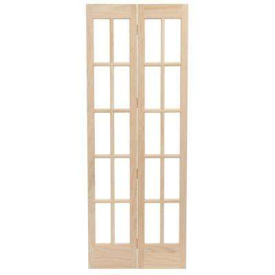 36 in. x 80 in. Classic French Glass Wood Universal/Reversible Interior Bi-fold Door