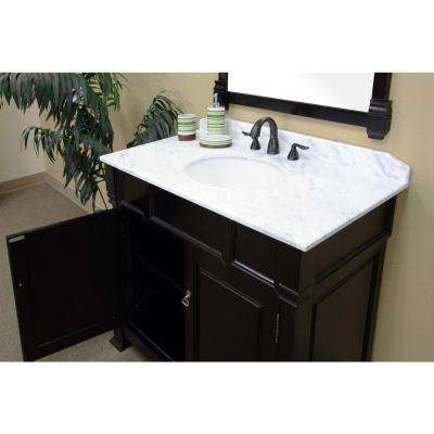 Olivia 42ES 42 in. Single Vanity in Espresso with Marble Vanity Top in White