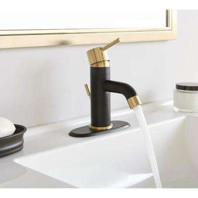 Modern Single Hole Single-Handle Low-Arc Bathroom Faucet in Dual Finish Matte Gold and Matte Black
