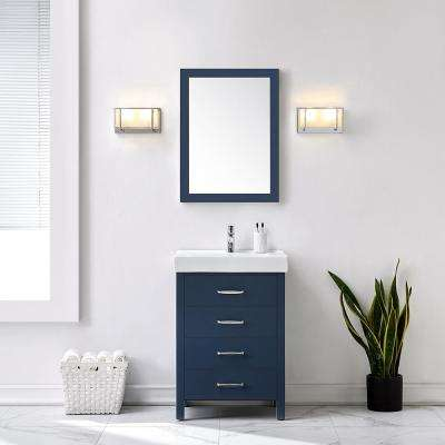 Cedarton 24 in. W x 18 in. D Vanity in Midnight Blue with Ceramic Vanity Top in White with White Sink
