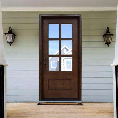 Savannah 6 Lite Stained Mahogany Wood Prehung Front Door