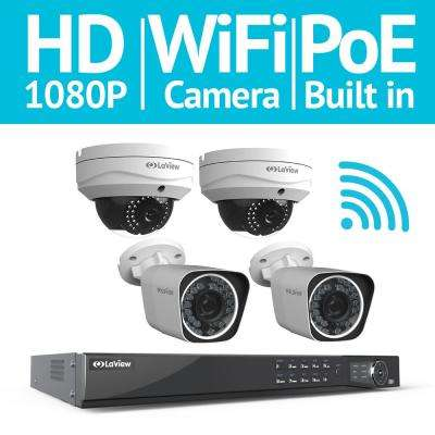 8-Channel Full HD IP Indoor/Outdoor Wi-Fi Wireless Surveillance 2TB NVR System (2) 1080p Bullet and (2) Dome Cameras
