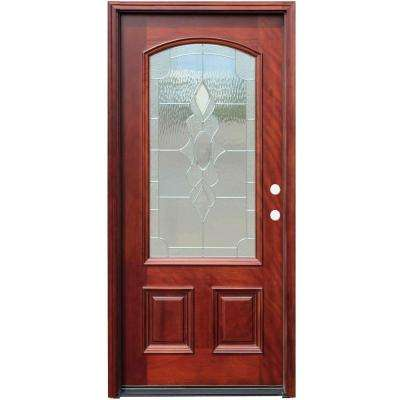 Traditional 3 4 Arch Lite Stained Mahogany Wood Prehung Front Door