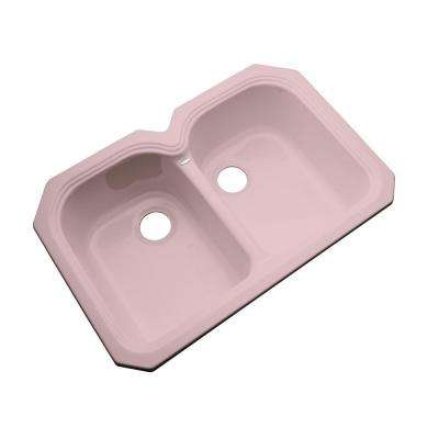 Hartford Undermount Acrylic 33 in. 0-Hole Double Bowl Kitchen Sink in Dusty Rose