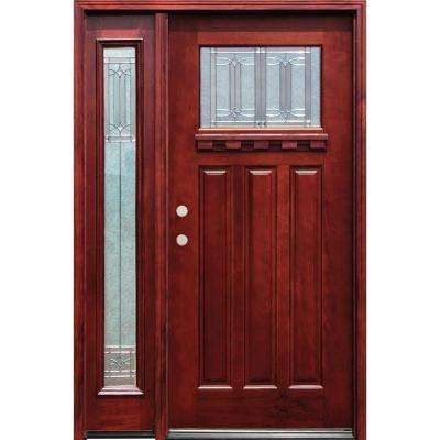 54 in. x 80 in. Diablo Craftsman 1 Lite Stained Mahogany Wood Prehung Front Door with Dentil Shelf & One 14 in. Sidelite