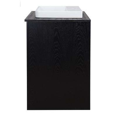 Zuvitria 25 in. Vanity in Black with Granite Vanity Top in Black