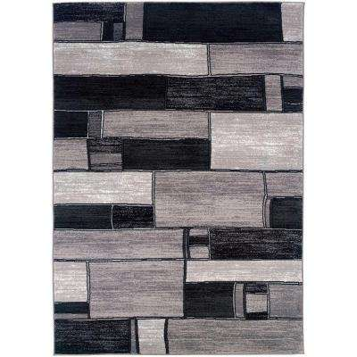 Contemporary Charcoal and Grey 5 ft. 3 in. x 7 ft. 5 in. Plush Indoor Area Rug