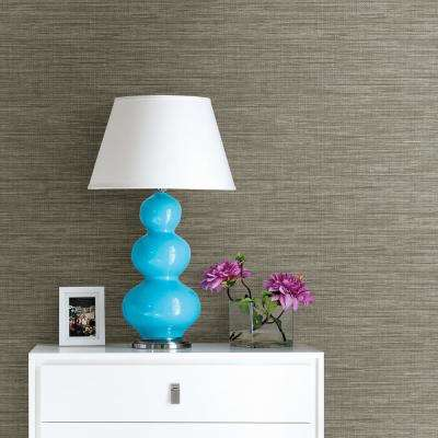 56.4 sq. ft. Exhale Grey Faux Grasscloth Wallpaper