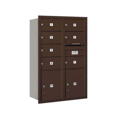 3700 Series 48 in. 13 Door High Unit Bronze USPS Rear Loading 4C Horizontal Mailbox with 7 MB2 Doors and 2 PL5's